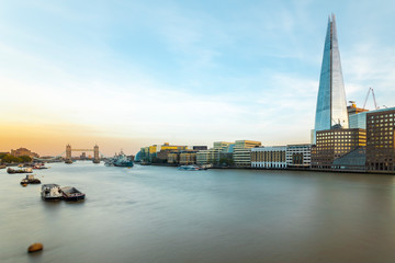 UK, London, Long exposure of the Thames with the Tower Bridge, HMS Belfast and the Shard