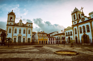 Moody dusk view of the colonial Anchieta Plaza in the historic tourist center of Pelourinho in Salvador, Bahia, Brazil Fototapete