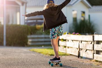 Little girl with skateboard