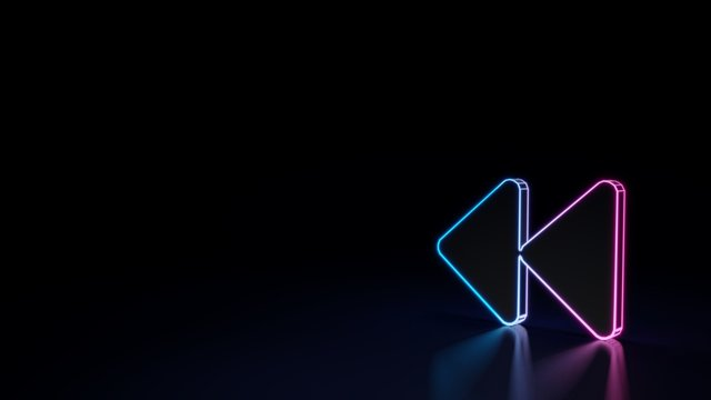 3d glowing neon symbol of symbol of backward isolated on black background