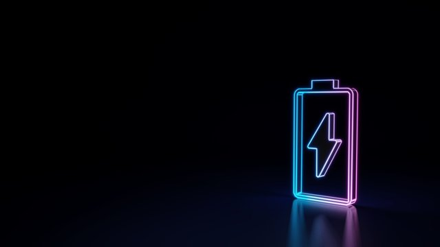 3d glowing neon symbol of vertical symbol of charging empty battery isolated on black background