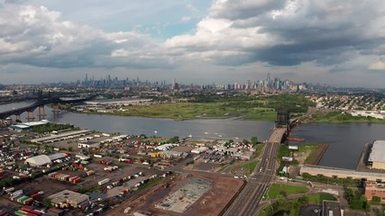 Fotomurales - High Aerial Perspective Urban City Skyline Jersey City and Manhattan