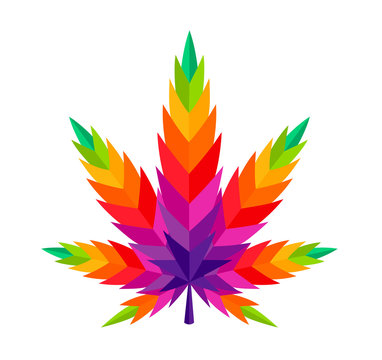Cannabis leaf marijuana vector colorful illustration ganja