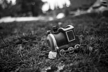 Tren de juguete tirado en el jardin