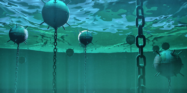 naval underwater mines bombs floating underwater in the ocean. hidden danger high risk concept 3d rendered illustration.