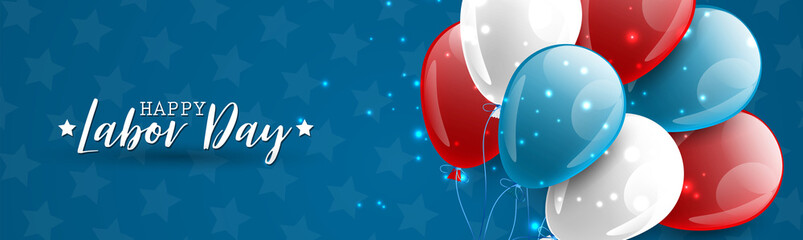Happy Labor Day banner or website header design. USA National holiday decoration with a bunch and blue, red, and white balloons. Vector illustration.