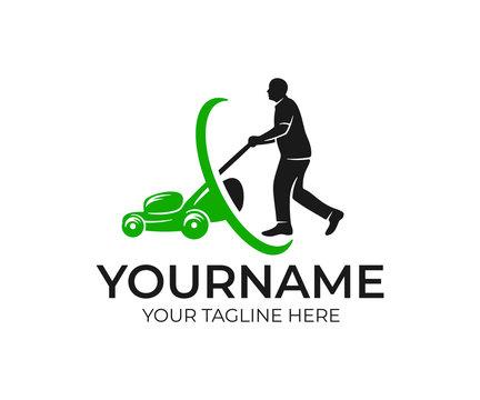Lawnmower man and lawnmower, logo design. Landscape design and gardening, vector design and  illustration