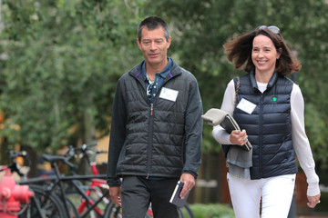 Sarah Friar, CEO of Nextdoor, and David Riley attend the annual Allen and Co. Sun Valley media conference in Sun Valley, Idaho