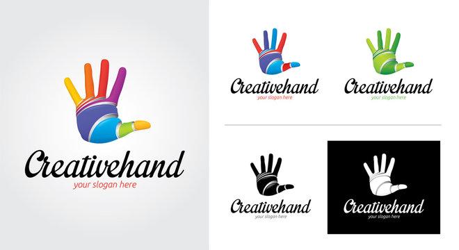 Color Hand minimalist and creative logo set
