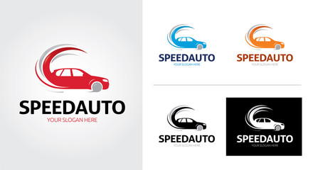 Speed Auto minimalist and creative logo set