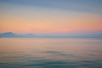 seascape in sunset skyline in evening in thailand