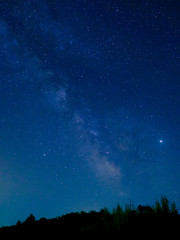 blue sky with stars and milky way