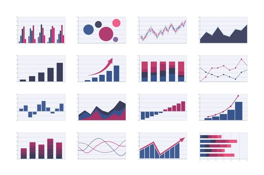 Color business graph and chart set. bar, line, areas, bubble and candlestick graphs. analysis graphic vector images