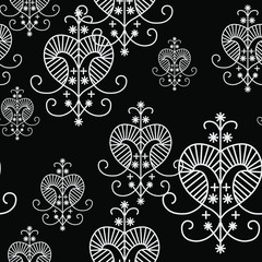 Seamless black and white pattern with voodoo signs of goddess Erzulie.