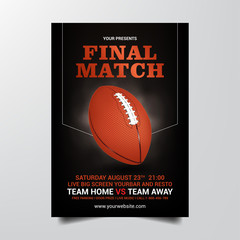 final match american football flyer tempate vector