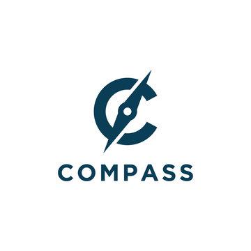 C letter for compass icon symbol vector logo design