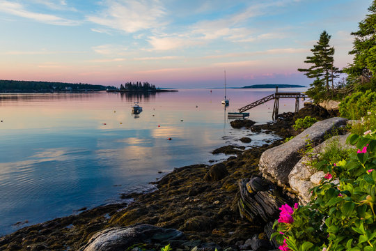 Boothbay Harbor Marina, Maine, at sunrise in soft beautiful quiet light on Independence Day