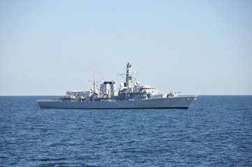 U.S. Navy photo of Royal Navy vessel HMS Montrose at sea during Baltic Operations