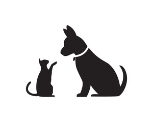 Cat and Dog vector silhouettes logo