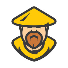 Shaolin monk Vector Cartoon illustration.