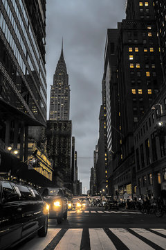 New York City Street At Night With Empire State Building Urban Scene