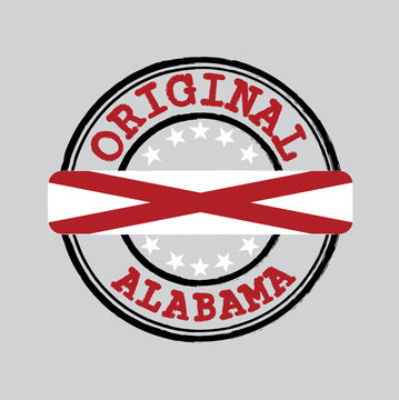 Vector Stamp for Original logo with text Alabama and Tying in the middle with States Flag.