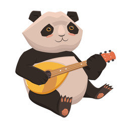Cute panda playing ukulele. Isolate on white background. Vector graphics.