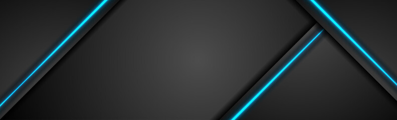 Black tech concept banner with blue light