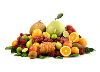 A heap of different tropical fruits isolated on white background. Healthy and organic fair concept. - Image