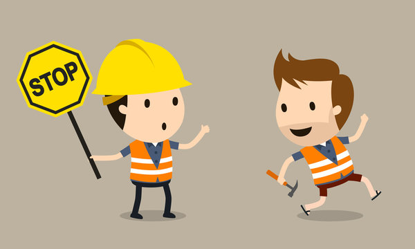 worker holding a stop sign and worker who runs without protection, Vector illustration, Safety and accident, Industrial safety cartoon