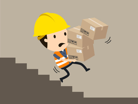 falling on the stairs with a heavy load, Vector illustration, Safety and accident, Industrial safety cartoon