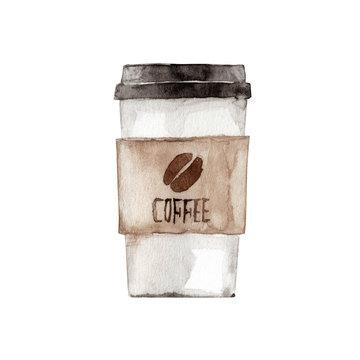 テイクアウトコーヒー 水彩 イラスト