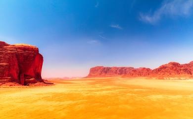Wadi Rum - Red Desert with Jebel Khazali & El Qattar