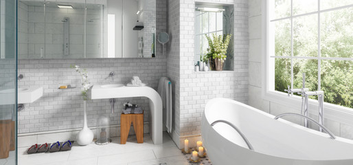 Old building bathroom after renovation (panoramic) - 3d visualization
