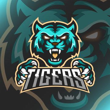 Vector illustration Green Tiger logo mascot
