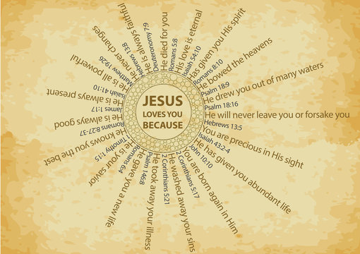 Christian background with multiple reasons why Jesus loves you, with bible verses, written on old paper texture