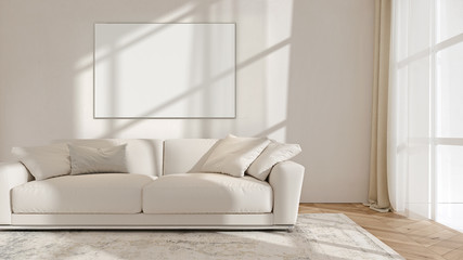 Modern interior design of living room with picture frame hanging on the empty wall, mockup, backdrop, template, copy space, 3d rendering