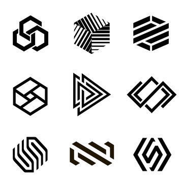 Vector logo design template for business. Abstract icons.