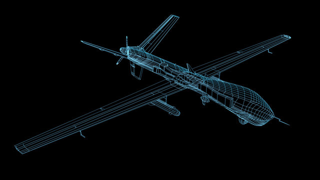 3D render of fireframe military drone