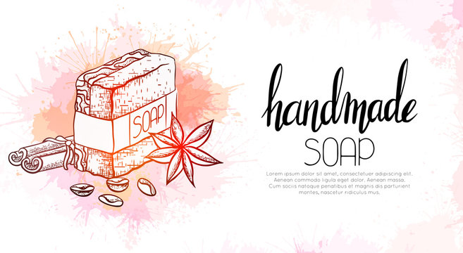 Horizontal banner with outline illustration of handmade soap with cinnamon sticks, coffee grains and star anise on watercolor splashes. Vector template for cards, recipes and your creativity.