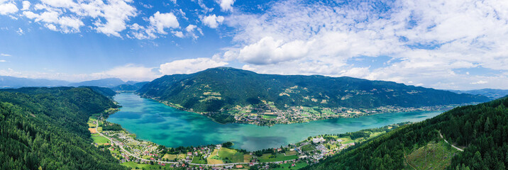 Ossiacher See in Kärnten. Scenic summertime panorama of Lake Ossiach.