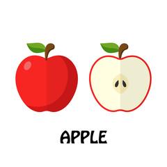 Vector Illustration Flat Apple isolated on white background , minimal style , Raw materials fresh fruit