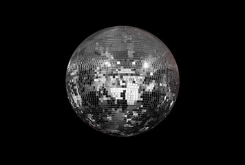 Wall Mural - Party disco mirror ball reflecting colorful lights