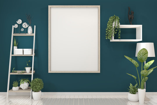 poster mock up with empty wooden frame on dark blue wall and decoration plants. 3D rendering.