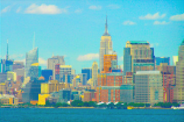 Manhattan waterfront - New York City (USA) - Concept image with pixelation effect