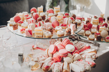 Delicious pink candy bar at wedding reception. Pink and white desserts,macarons and cupcakes on stand, modern sweet table at wedding or baby shower. Luxury catering concept