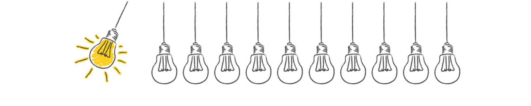 Panorama Banner Pendel aus Glühbirnen Idee Innovation