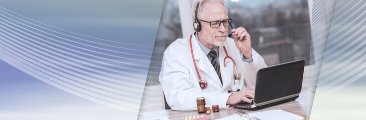 Portrait of doctor during online medical consultation; panoramic banner