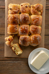 Fresh buns with butter above