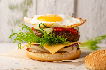 Burger with beef and egg